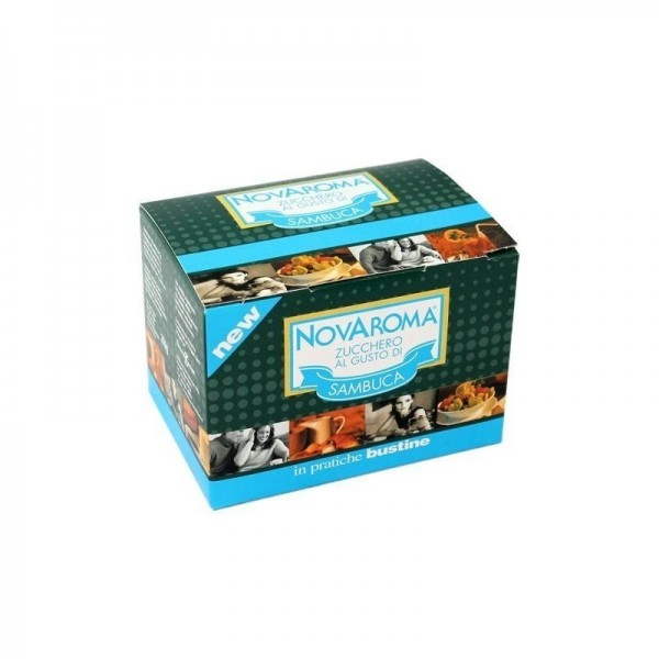 50 bustine Novaroma zucchero aromatizzato Sambuca
